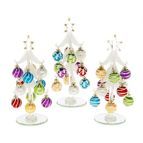 Medium Frosted Glass Christmas Trees with Multi Coloured Baubles
